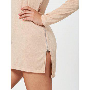 Zipper Side Long Sleeve Shift Sweater Dress - APRICOT APRICOT