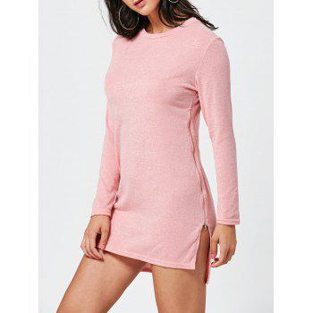 Zipper Side Long Sleeve Shift Sweater Dress