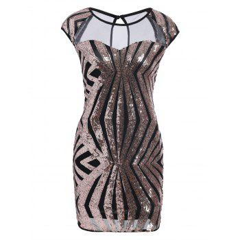 Mesh Insert Sequin Bodycon Club Dress