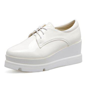 Round Toe Patent Leather Platform Shoes - WHITE WHITE
