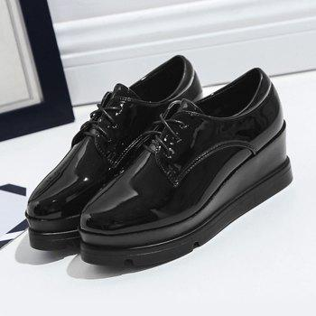 Round Toe Patent Leather Platform Shoes - BLACK 37