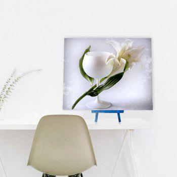 Cup Floral DIY 5D Resin Diamond Paperboard Painting - WHITE