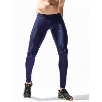 Side Color Block Openwork Panel Stretchy Gym Pants - CERULEAN XL