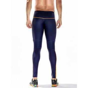 Side Color Block Openwork Panel Stretchy Gym Pants - CERULEAN CERULEAN