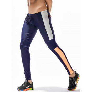 Side Color Block Openwork Panel Stretchy Gym Pants - CERULEAN M