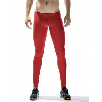 Quick Dry Stretchy Side Color Block Stripe Gym Pants - RED RED