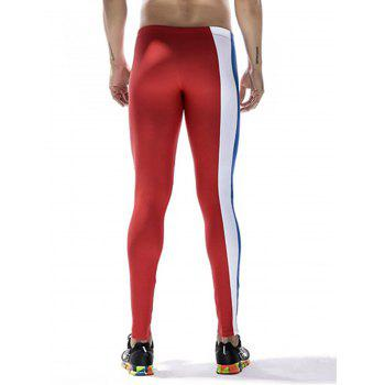 Quick Dry Stretchy Side Color Block Stripe Gym Pants - RED L