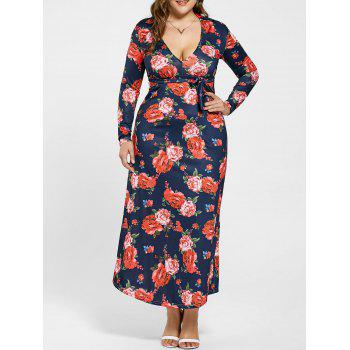Plunging Neck Long Sleeve Floral Plus Size Dress