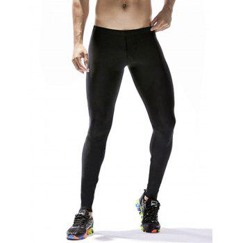 Quick Dry Stretchy Side Color Block Stripe Gym Pants - BLACK XL