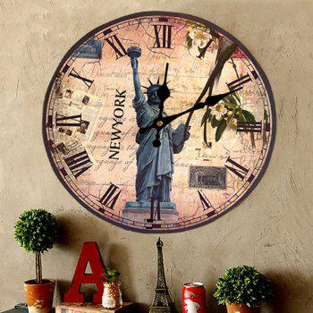 Statue of Liberty Wood Round Analog Wall Clock - 30*30CM 30*30CM