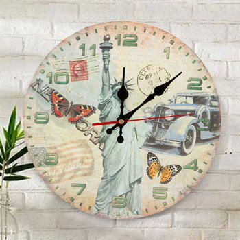 Statue of Liberty Wood Round Analog Wall Clock