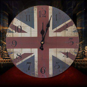 British Flag Wood Round Analog Wall Clock