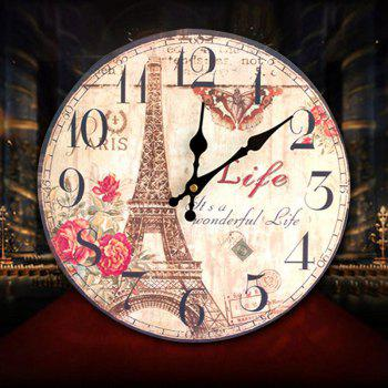 Eiffel Tower Round Wood Analog Wall Clock - YELLOW 30*30CM