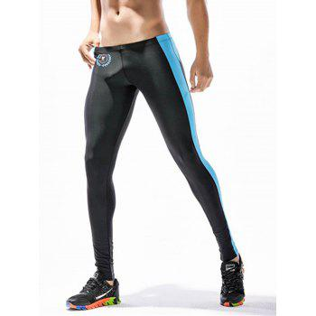 Side Stripe Badge Print Stretchy Gym Pants - BLACK BLACK