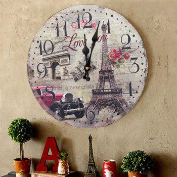 Eiffel Tower Round Wood Analog Wall Clock - GRAY 30*30CM