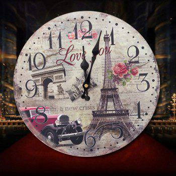 Eiffel Tower Round Wood Analog Wall Clock