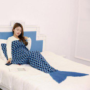 Peacock Pattern Knitted Sofa Bed Mermaid Blanket - CADETBLUE CADETBLUE