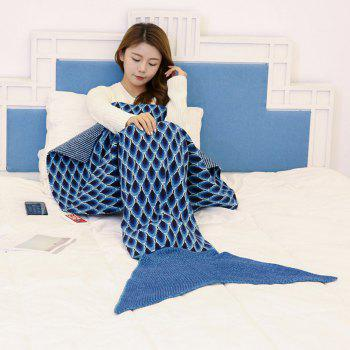 Peacock Pattern Knitted Sofa Bed Mermaid Blanket - CADETBLUE 180*90CM