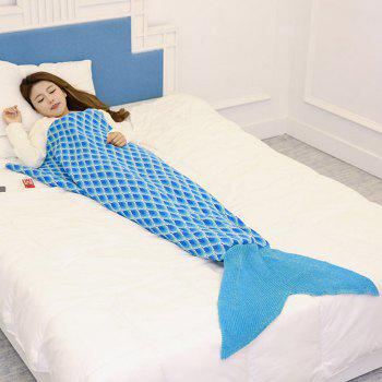Peacock Pattern Knitted Sofa Bed Mermaid Blanket - LAKE BLUE LAKE BLUE