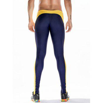 Side Stripe Badge Print Stretchy Gym Pants - DEEP BLUE DEEP BLUE