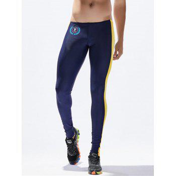 Side Stripe Badge Print Stretchy Gym Pants - DEEP BLUE M