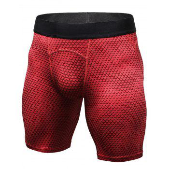 3D Geometric Print Fitted Quick Dry Gym Shorts - RED RED