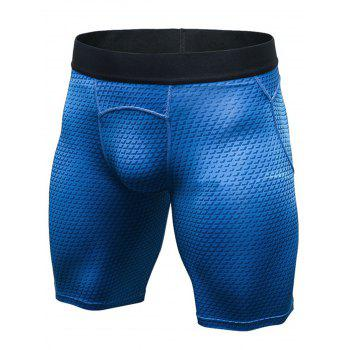 3D Geometric Print Fitted Quick Dry Gym Shorts - BLUE 2XL