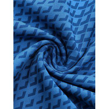 3D Geometric Print Fitted Quick Dry Gym Shorts - BLUE L