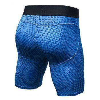 3D Geometric Print Fitted Quick Dry Gym Shorts - M M