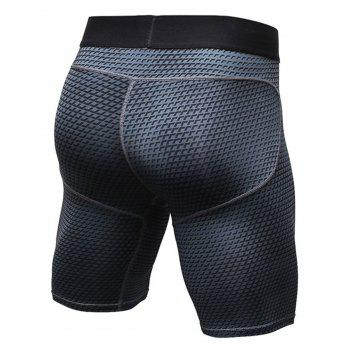 3D Geometric Print Fitted Quick Dry Gym Shorts - BLACK 2XL