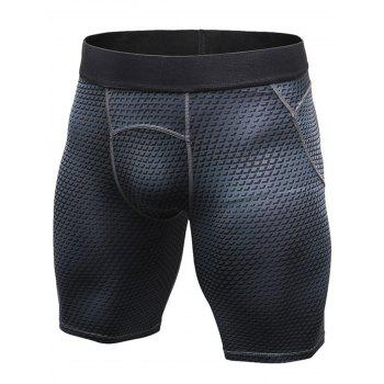 3D Geometric Print Fitted Quick Dry Gym Shorts - BLACK XL