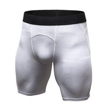 3D Geometric Print Fitted Quick Dry Gym Shorts - WHITE 2XL