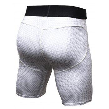3D Geometric Print Fitted Quick Dry Gym Shorts - WHITE WHITE