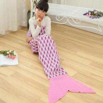 Peacock Pattern Crochet Mermaid Blanket For Kids