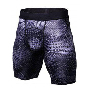3D Geometric Print Fitted Gym Shorts