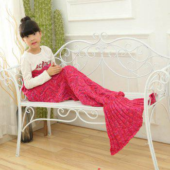 Sofa Sleeping Wave Knitted Mermaid Blanket For Kids - RED RED