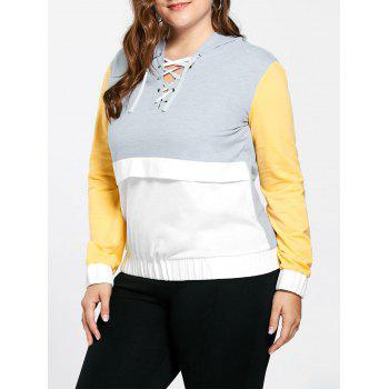 Plus Size Lace Up Hoodie