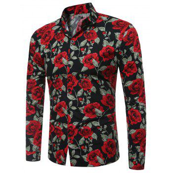 Long Sleeve 3D Roses Print Shirt