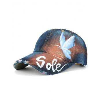 Butterfly Letters Hand Painting Printed Baseball Cap