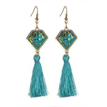 Faux Gem Geometric Tassel Hook Earrings