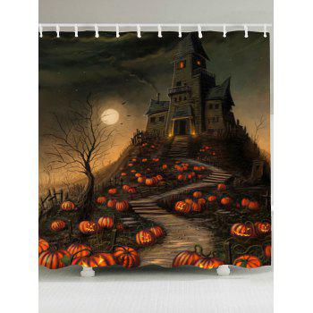 Halloween Pumpkin Castle Print Shower Curtain