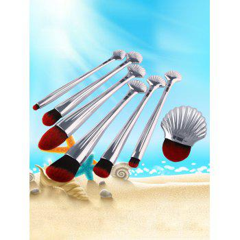 7Pcs Plating Sea Shell Shape Makeup Brushes Kit -  SILVER