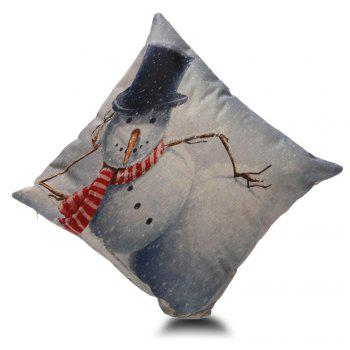 Snowman Print Cushion Cover Pillowcase - GREY WHITE 45*45CM