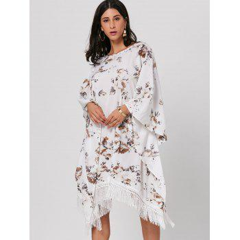 Batwing Sleeve Floral Print Fringed Midi Dress - WHITE ONE SIZE
