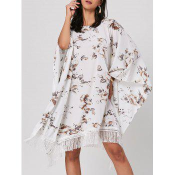 Batwing Sleeve Floral Print Fringed Midi Dress - WHITE WHITE
