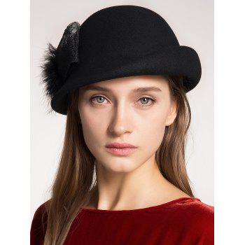 Curly Brim Pompon Bowknot Embellished Pillbox Hat