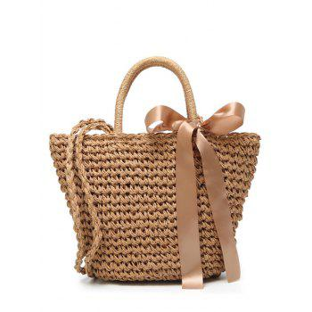 Bowknot Ribbon Straw Handbag