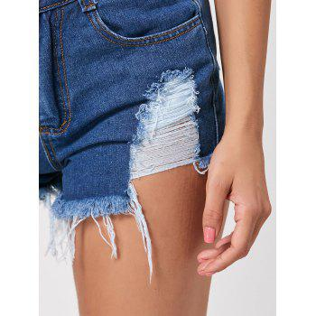 Mini Distressed Denim Cuff Off Shorts - DEEP BLUE XL