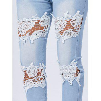 Lace Trim Light Wash Skinny Jeans - BLUE S