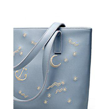 Embroidery PU Leather Shoulder Bag -  BLUE